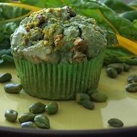Muffins salés noisette/blette/spiruline sans gluten