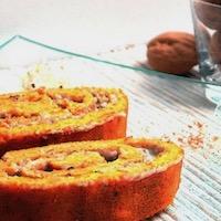 Gâteau roulé à la carotte et au roquefort/noix