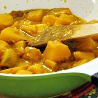 Recette wok : potiron courge au lait de coco et curcuma